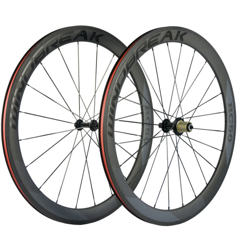 Full 700 Carbon Wheel Carbon Fiber Road Wheel 50mm Clincher Carbon Wheelset Bicycle With Powerway R13
