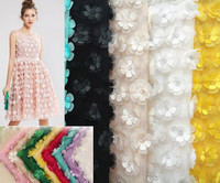 Multicolor Three Dimensional Flower Chiffon 130cm Double Layer Embroidered DIY Wedding Dress Clothing Accessories Lace Fabrics