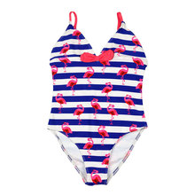 Funfeliz Girls Swimsuit Flamingo Swimming Suit Cute Girl One Piece Swim Kids Swimwear Children Bathing 6T-14T