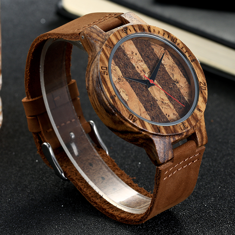 Retro Cork Wood Wooden Wristwatch Mens Women Wrist Quartz Watch Men Ladies Leather Strap Roman Stitch Watches Creative Gifts
