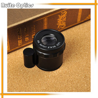 Cylindrical Adjustable Pocket Magnifier Optical Glass Lens Magnifying Glass with Scale and 8 LED Light 10x