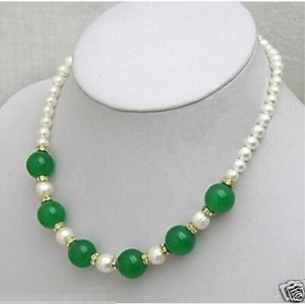 FREE SHIPPING>>>@@ > Hot sale new Style >>>>>charming green jade and white pearl necklace 7-8MM