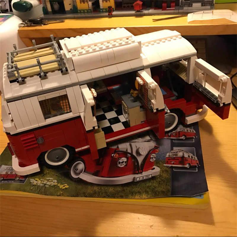 2018 Baru Legoings 1354 Pcs Teknik Seri Volkswagen T1 Camper Van Model Blok Bangunan Kit Set Mainan