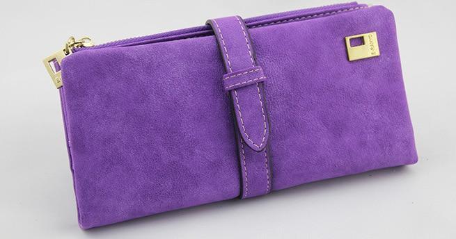 Известный бренд, Длинный кошелек, два сложения, женские кошельки, на завязках, нубук, кожа, на молнии, замшевый кошелек, дамская сумочка, клатч - Цвет: Purple