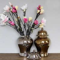 Retail Lots Of Colours Chinese Hand Painted Solid Colour Ceramic Ginger Jars Vases