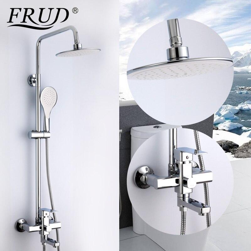 Frud 1 Set robinet de salle de bain mitigeur douche de pluie avec pulvérisateur à main mural bain douche système ensembles poignée unique R24131