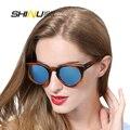Горячие Продажи Круглого Бамбука Деревянные Очки Поляризованных Зеркало Покрытие Солнце Glsses Старинные Женщины Мужчины Мода Очки Óculos De Sol 6011