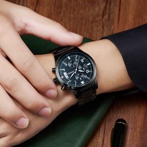 Image 4 - SINOBI Chronograph Männer Armbanduhr Wasserdicht Top Luxus Marke Edelstahl Männer Quarzuhr Relogio Masculino Dropshipping