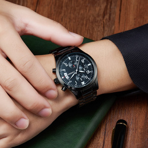 Image 4 - Sinobiクロノグラフメンズ腕時計防水のトップの高級ブランドステンレス鋼男性クォーツ時計レロジオmasculinoドロップシッピング