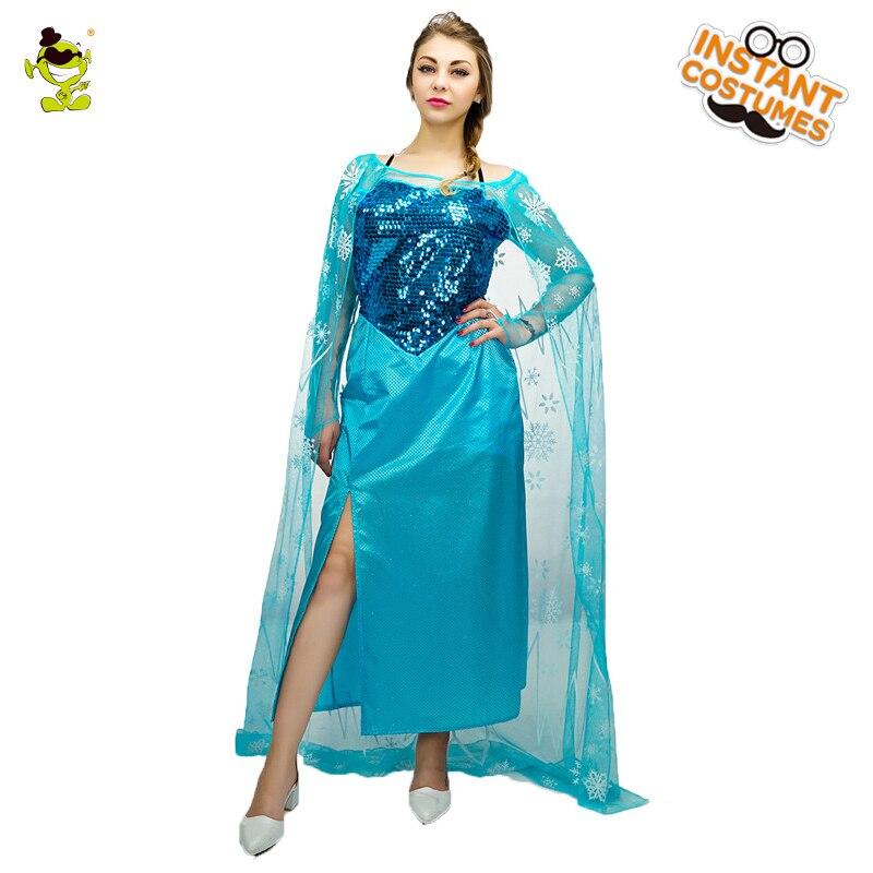 Adulte Snow Queen Elsa Costumes avec Gaze Cape Mascarade Party Deluxe Princesse Elsa Fantaisie Robe Femmes Congelés Reine Cosplay