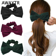 AWAYTR New Hair Bow Velvet Scrunchies Women Elastic Hair Band Girls Scrunchie Elegant Ladies Hair Accessories Girls Hair Rope(China)