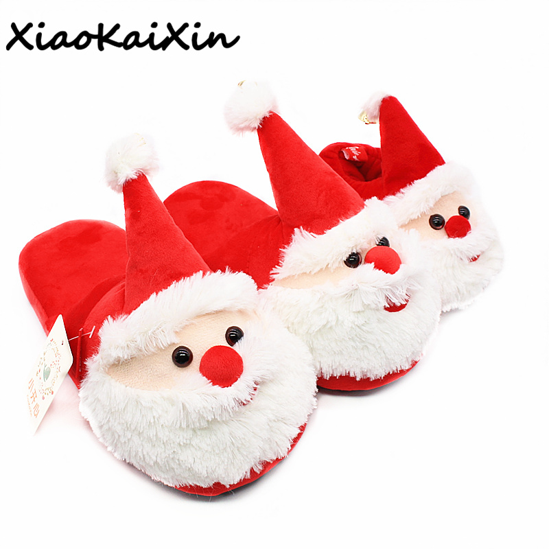 CHILDRENS CHRISTMAS SANTA CLAUS RED NOVELTY FUR WINTER SLIPPERS SIZE 8-12