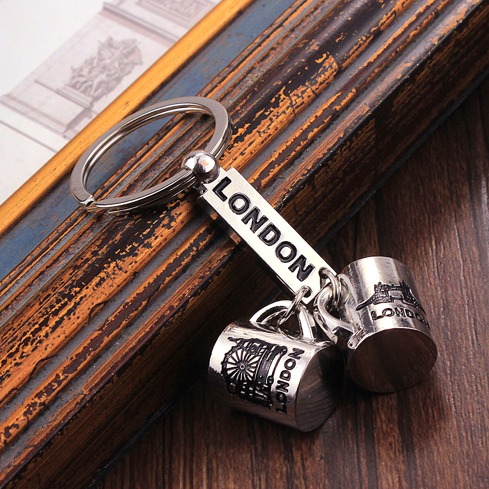 Vicney New Arrival Lover's Cup Keychain Stainless Steel Couple Key Chain Romantic London Keyring For Boy Friend Girl Friend