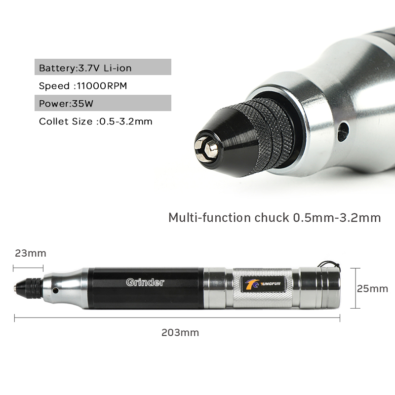 Image 5 - Tungfull Mini Cordless Drill Engraving Pen Electric Drill Grinder With Lithium Battery 3.7V Rechargeable Jade Carving Tool-in Electric Drills from Tools