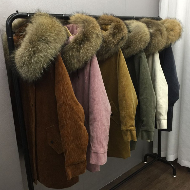 2017 New Winter Parka Detachable Liner Thick Large Real Raccoon Fur Collar Long Jacket Coats Women's Big Size Corduroy Warm Coat