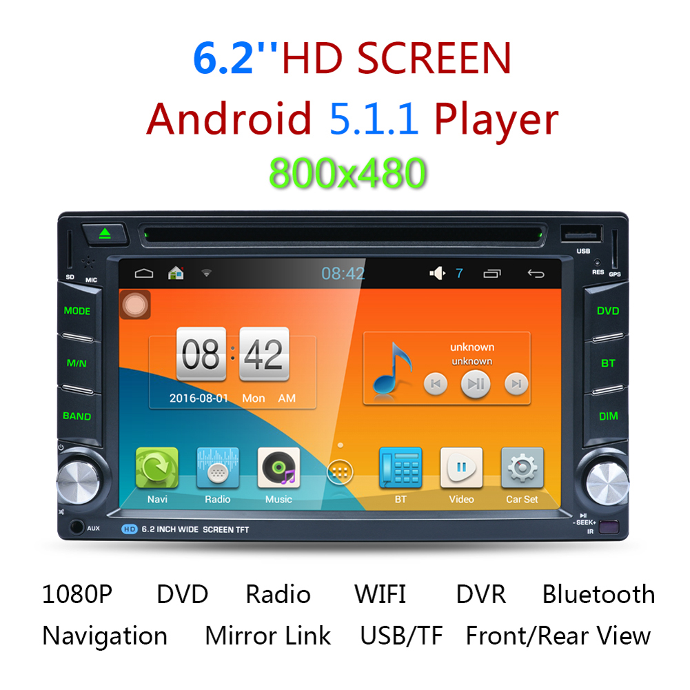 6 2 hd car styling 2 din android gps navigation autoradio in dash bluetooth wifi vehicle dvd cd. Black Bedroom Furniture Sets. Home Design Ideas