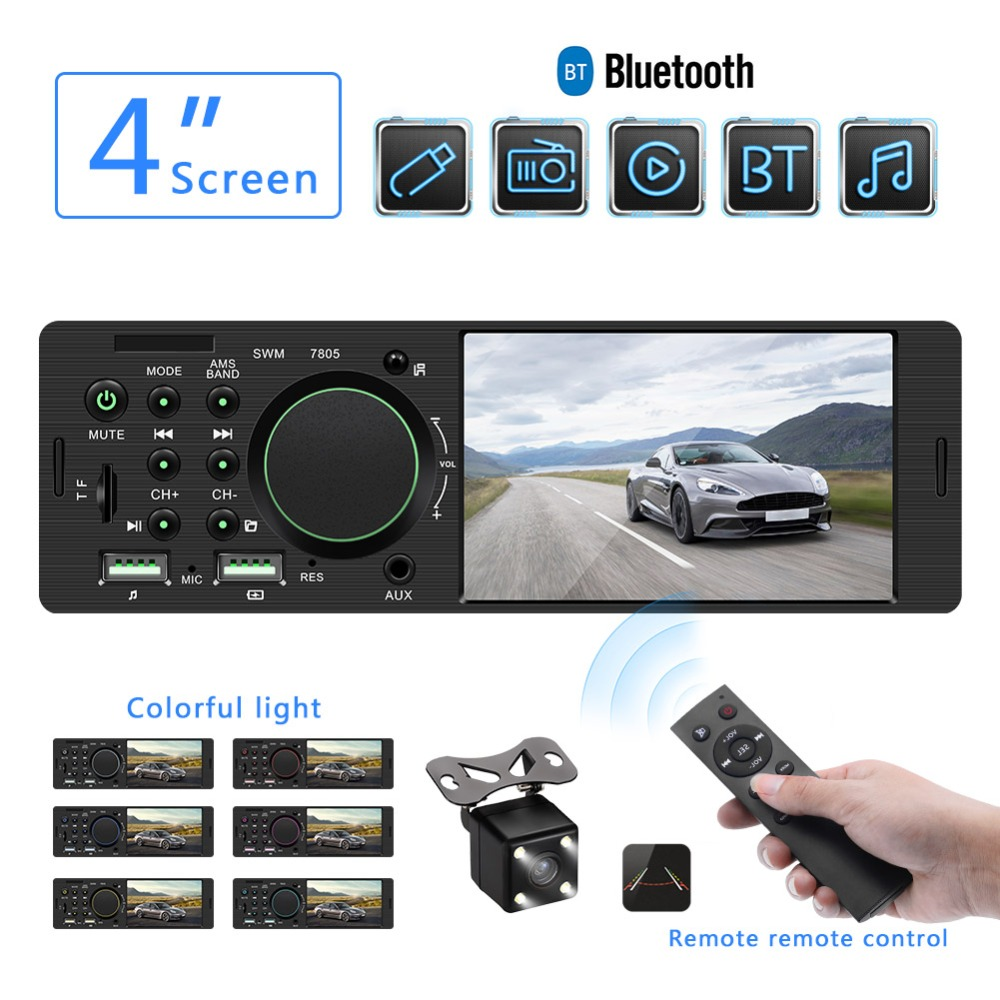 Autoradio FM lecteur Autoradio Bluetooth mains libres Autoradio 1 din voiture Support Audio caméra de recul Autoradio MP5 TF/USB/AUX