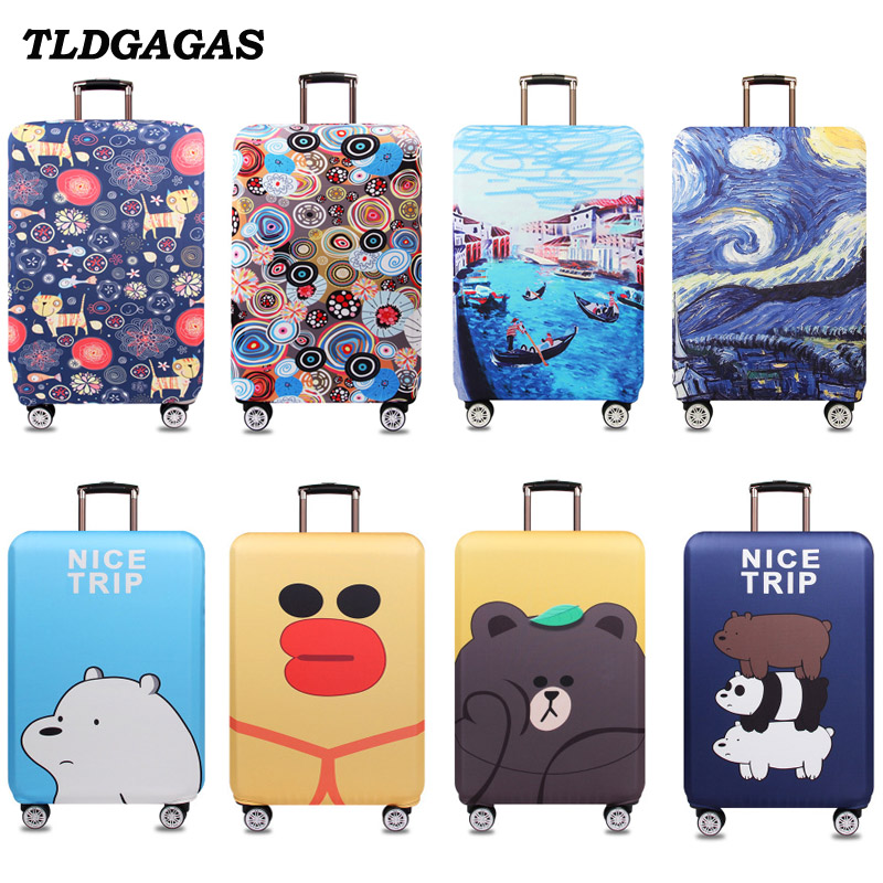 TLDGAGAS Elastic Fabric Illustrations Luggage Protective Cover Suit 18-32 Inch Trolley Case Suitcase Cover Travel Accessories
