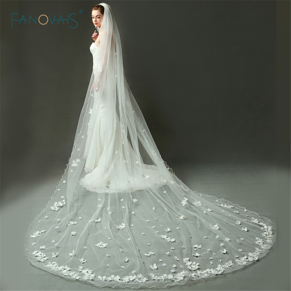 Elegant Wedding Veil Long Ivory/White One Layer Lace Flower Bridal Veil with Butterfly Wedding Accessories Velo de Novia BV010