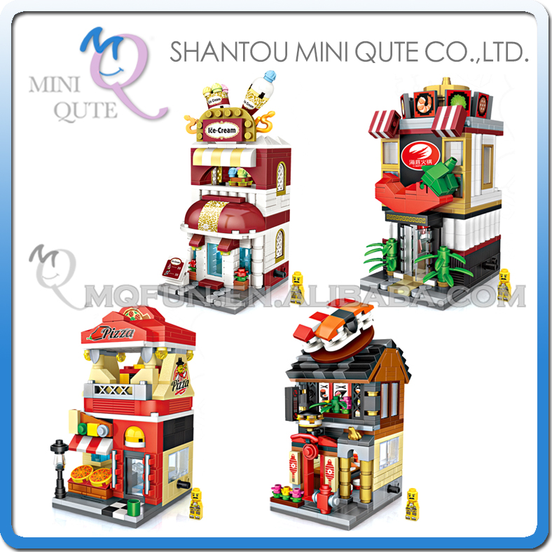 Full Set 4pcs Mini Qute LOZ World architecture Sushi Ice cream Hot pot Pizza street shop plastic building block educational toy mini qute full set 2 pcs lot hc zootopia huge nick wilde judy hopps plastic building block cartoon model educational toy no 9011