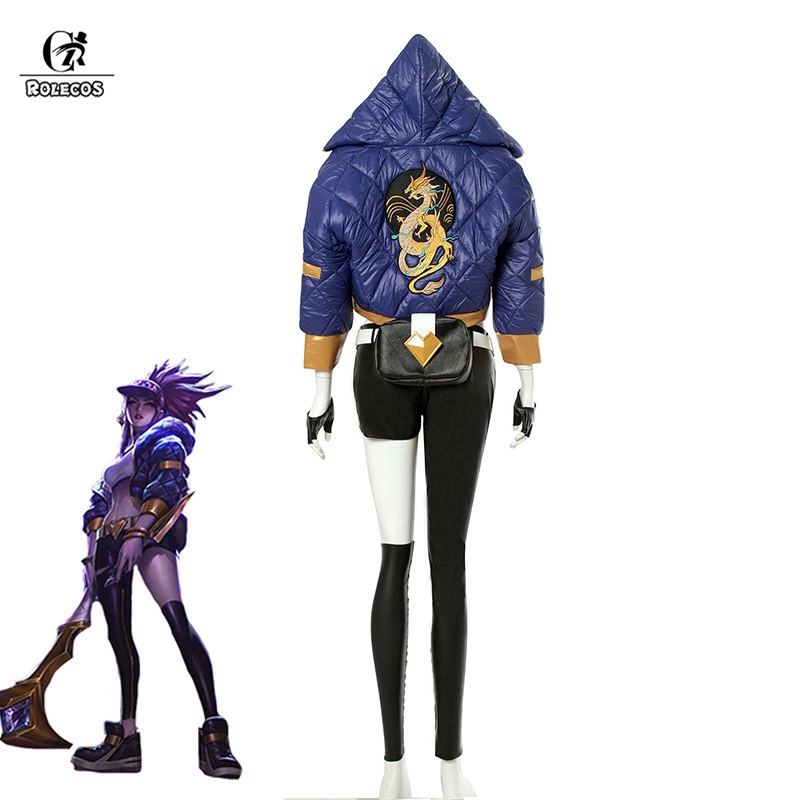 ROLECOS KDA Akali Cosplay Costume LOL AKALI Cosplay Costume LOL K DA Women Outfit Coat Pants