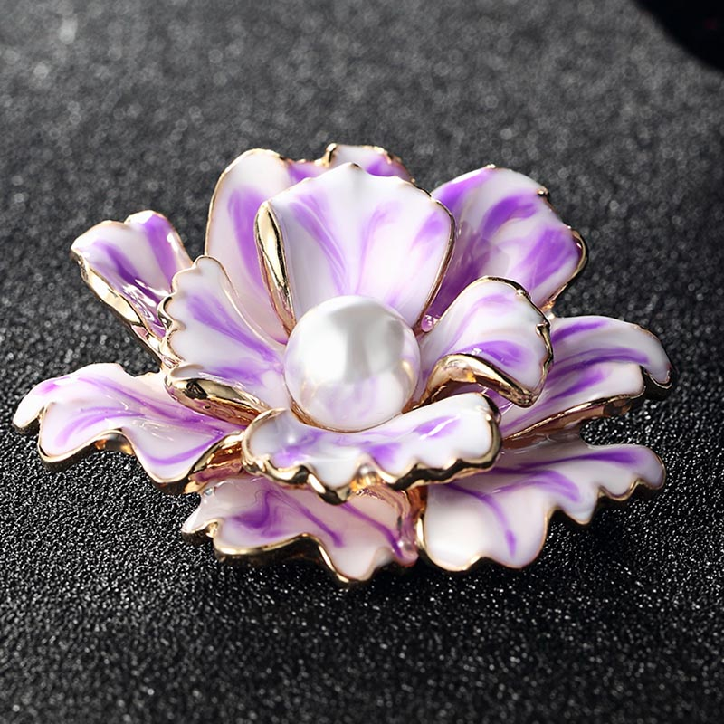 Blucome Enamel Flower Brooch For Women White Pearl Brooch Jewelry Collares Women Hijab Accessories Fashion Brooches Pins brooch pins pink flamingo brooches for women love cute gift enamel lapel pin broche broches 2018 fashion jewelry accessories
