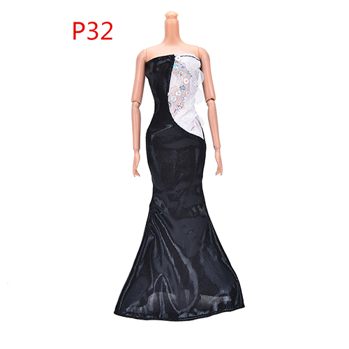 Fashion Sexy Black Paillette Fishtail Dress Party Gown Original Princess Clothes For Barbie Doll Best Gift