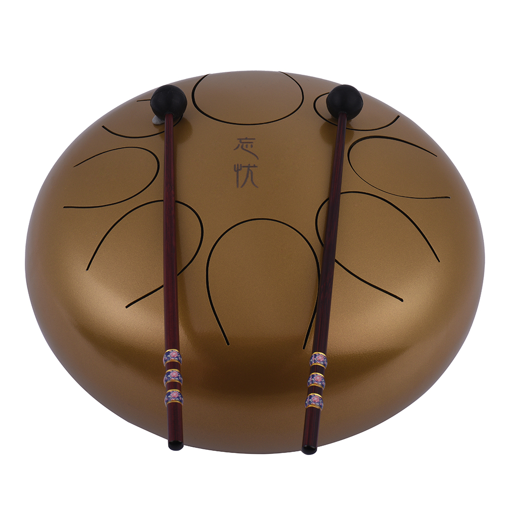 10 inch steel handpan drum tongue drum with drum mallets carry bag note sticks for meditation. Black Bedroom Furniture Sets. Home Design Ideas