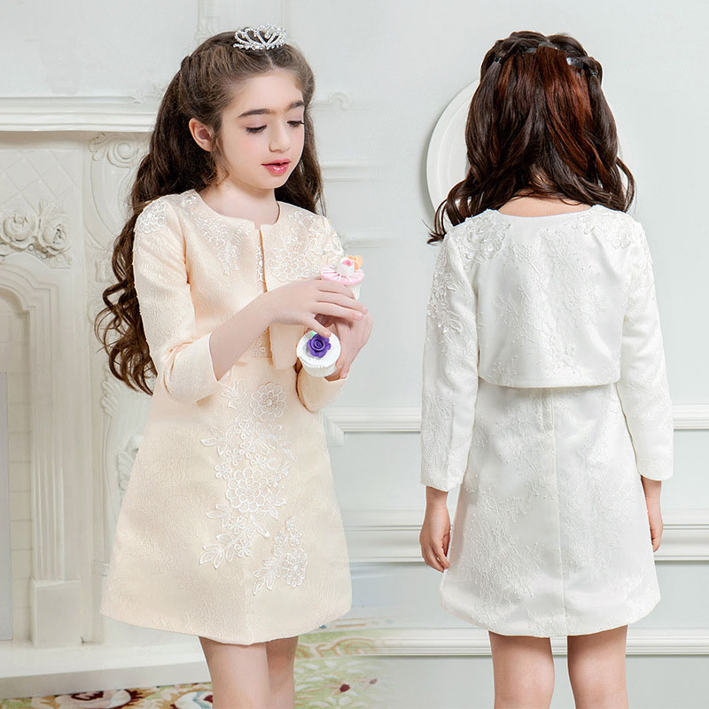 Girls dresses 2017 summer spring for 5 6 7 8 9 10 11 12 13 14 15 years old child brand sleeveless dress and coat two piece suit