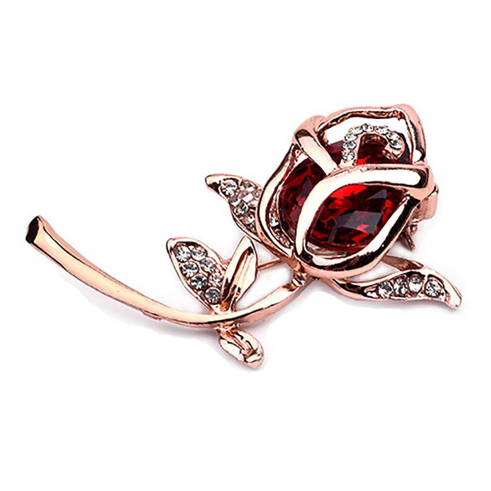Kristal Mawar Bunga Bros Pin Rhinestone Paduan Rose Emas Bros Ulang Tahun Hadiah Aksesoris Pakaian