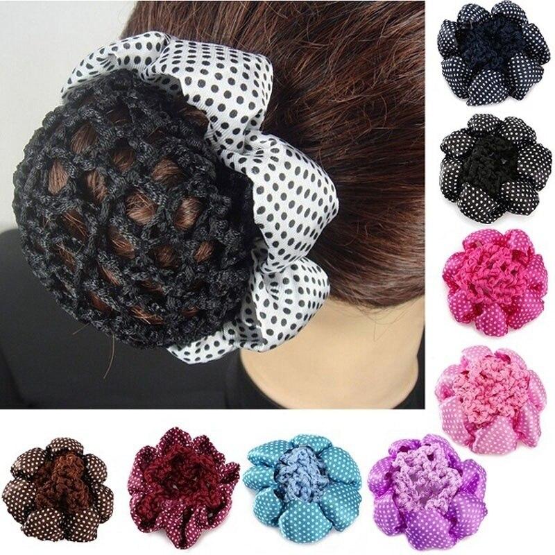 women Girls Rhinestone Bun Cover Crochet Snood pink Hair Net For ...