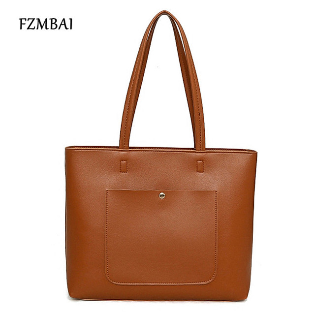 Fzmbai Retro Style All Match Tote Bag Simple Design Pu Single Shoulder Bags College Student S