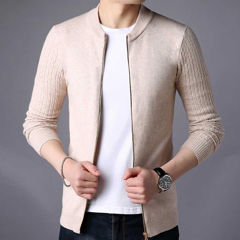 Liseaven мужской свитер мужской жакет однотонные свитеры трикотаж теплый свитер кардиганы мужская одежда