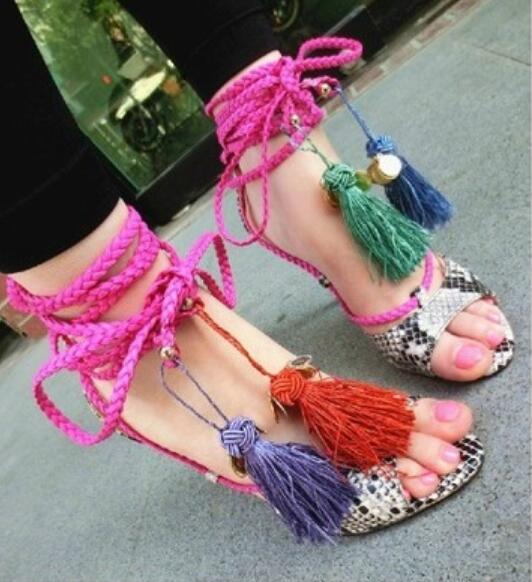 Gorgeous mixed colors tassels cross-tied lace up high heel peep toe sandals snakeskin pattern thin heels gladiator sandal bootieGorgeous mixed colors tassels cross-tied lace up high heel peep toe sandals snakeskin pattern thin heels gladiator sandal bootie