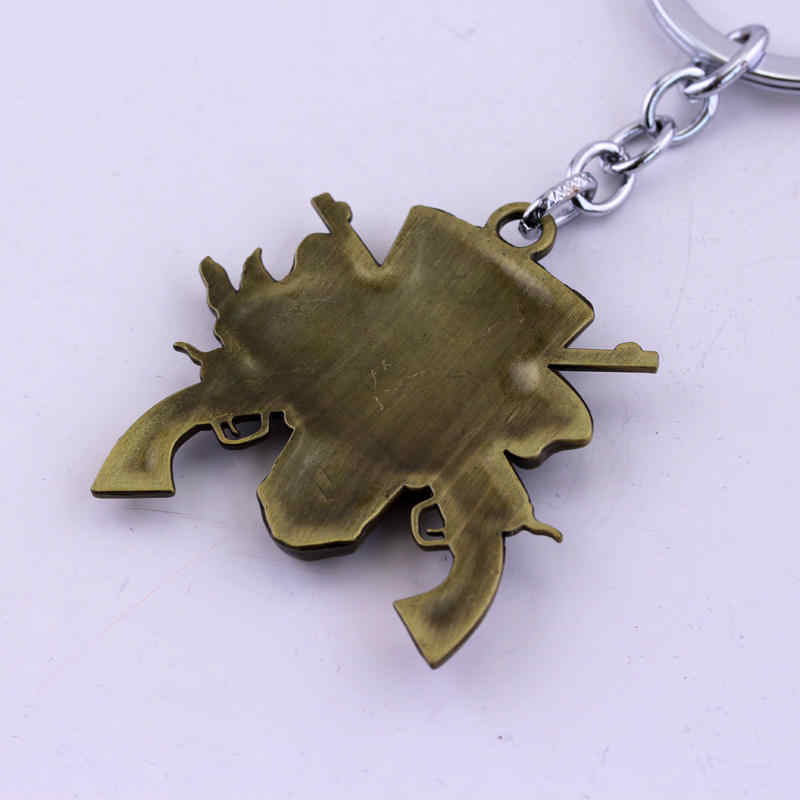 ตงเฉิงเพลงวงGuns N 'พวงกุญแจจี้แหวนฮาร์ดร็อคโลหะรูปโครงกระดูกสำหรับGnRแฟนGift-50