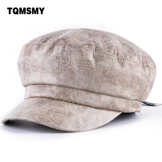 TQMSMY invierno de los hombres de cuero de las mujeres sombrero de la boina  hombre de 3b9be8a6566