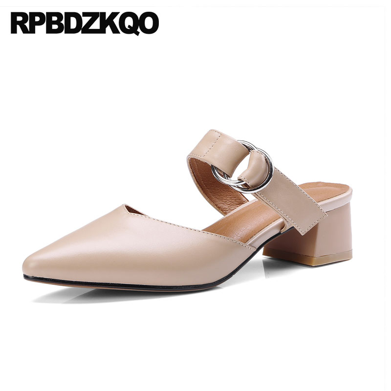 Medium Heels Size 4 34 Block Summer Sandals Metal Slingback Pointed Toe Ladies Genuine Leather Shoes High Quality Mules Slipper pointed toe slip on high heels strappy 2017 chic size 4 34 black ladies kitten sandals medium fashion low summer shoes slingback page 7