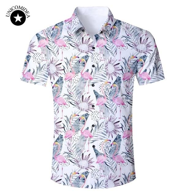 0cfa207048e2 Flamingo Print Floral Hawaiian Shirts Mens Summer Short Sleeve Button Down  Casual Regular Fit Shirt Flamingos Shirts US Size