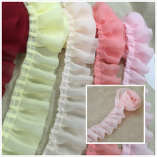 5CM Wide Multicolor Simple Pleated Soft Chiffon Tulle Lace Fabric DIY Clothing Dress Skirt Doll Clothes Edge Sewing Accessories