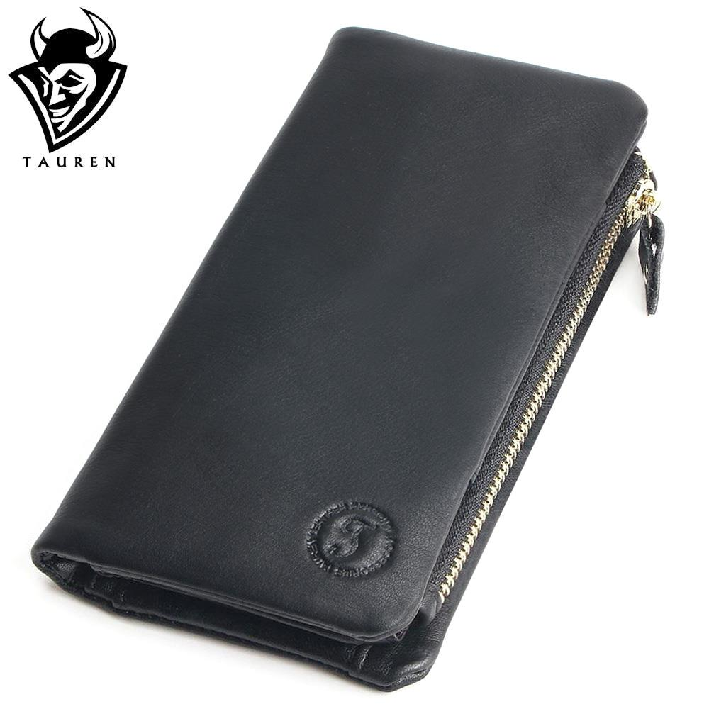 TAUREN Genuine Cowhide Leather Men Wallets Fashion Black Purse With Card Holder Vintage Long Wallet Clutch Wrist Bag vintage genuine leather wallets men fashion cowhide wallet 2017 high quality coin purse long zipper clutch large capacity bag