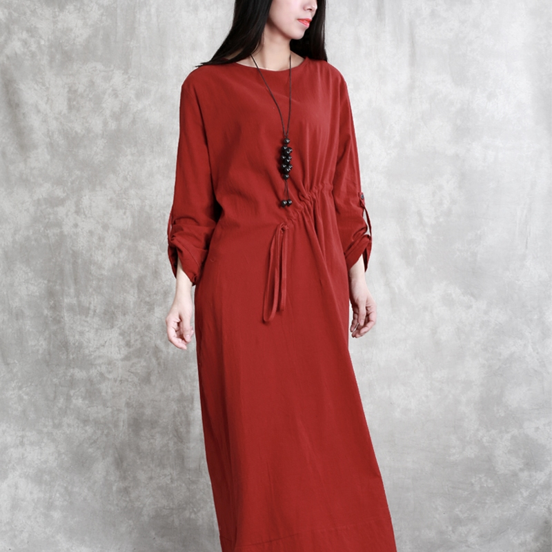 2018 Original Design Women Spring Solid Color Pleat Slim Thin Dress Personality Temperament Bottoming Dress Loose Robes N209