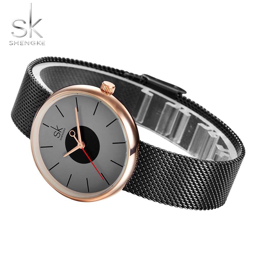 Shengke Women s Watch Ultra Thin Stainless Steel Quartz Watch Lady Casual Hours Bracelet Watches Women