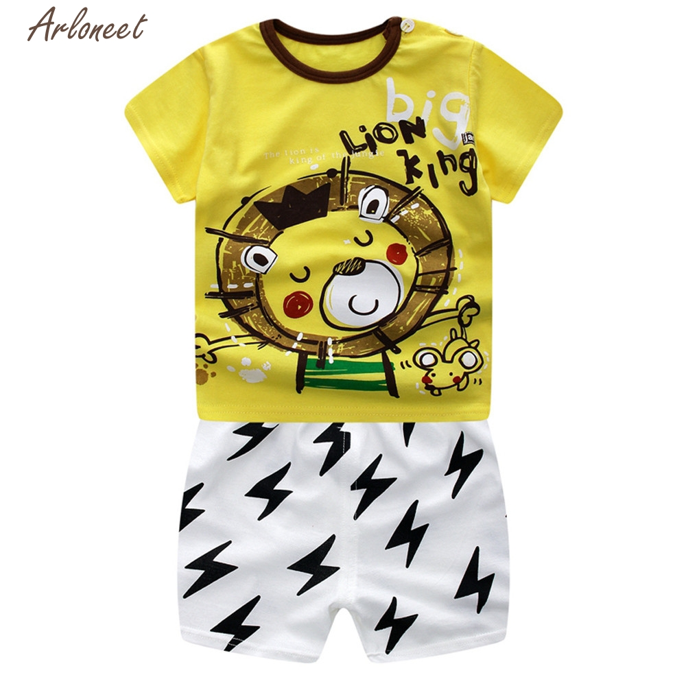 TELOTUNY Baby Boy Clothes Cotton Newborn Infant Baby Boys Girls Cartoon Lion Tops Shirt+Pants Outfits Set     Y122830 2018 spring newborn baby boy clothes gentleman baby boy long sleeved plaid shirt vest pants boy outfits shirt pants set
