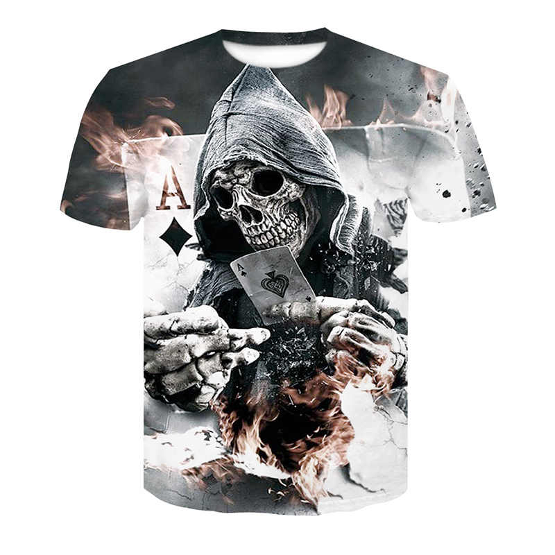 b026409f9 2018 New Mens Summer Skull Poker Print Men Short Sleeve T-shirt 3D T Shirt