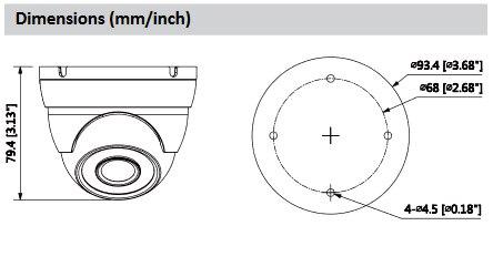 Dahua 4Mp Security Camera HAC-HDW2401M HDCVI WDR IR Eyeball Camera HD and SD dual-output 3.6mm fixed lens Indoor/Outdoor IP67