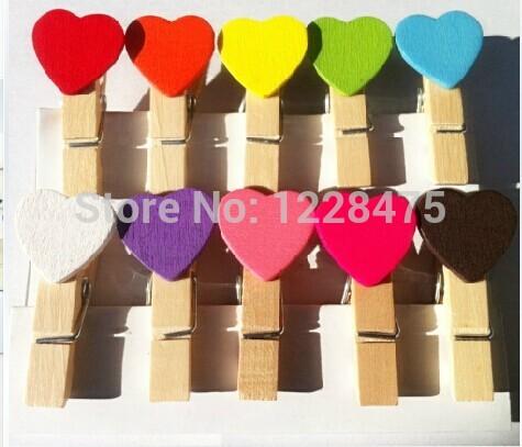 10PCS/lot  New Fashion Cute Special Gift Heart Wooden Clip Mini Bag Clip Paper Clip Wood Pegs