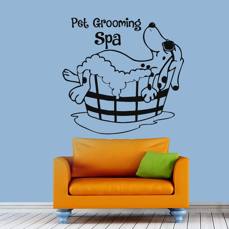 Pet Grooming Wall Decal Dog Grooming Salon Vinyl Sticker Pet Shop Decor RL12-in Wall Stickers from Home & Garden