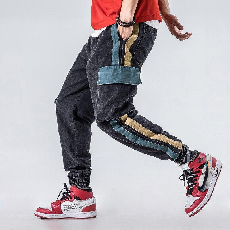 2018 Autumn Fashion Men   Jeans   Loose Fit Big Pocket Harem Cargo Pants Men Stripe Patch Design Japanese Style Hip Hop Jogger Pants