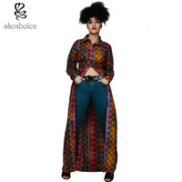 Spring Summer Autumn 2016 African Dresses For Women Ankara Batik Wax Print Pure Cotton Long Sleeve