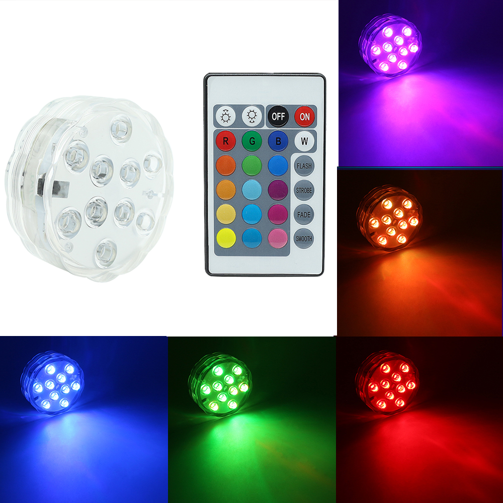 1pcs RGB Night Lights Multi Color Remote Battery Powered LED Submersible Lamp For Holiday Party Wedding Garden Pool Vase